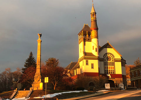 Church and Spire at Sunrise in Marlborough