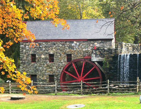 Historic Grist Mill with Fall Foliage