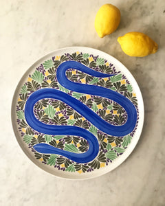 Plat serpent bleu