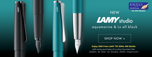 Get ONE Free Ink Bottle on every purchase of a Lamy Fountain Pen