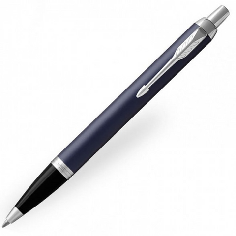 Parker IM Matte Blue Chrome Trim Ballpoint Pen - Medium (M)