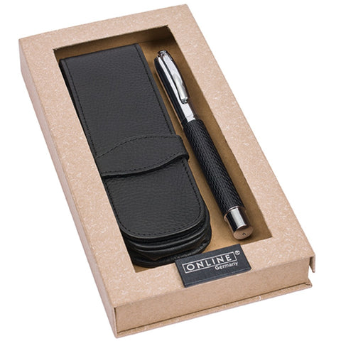 Online Vision Profile Black Fountain Pen with Leather Case