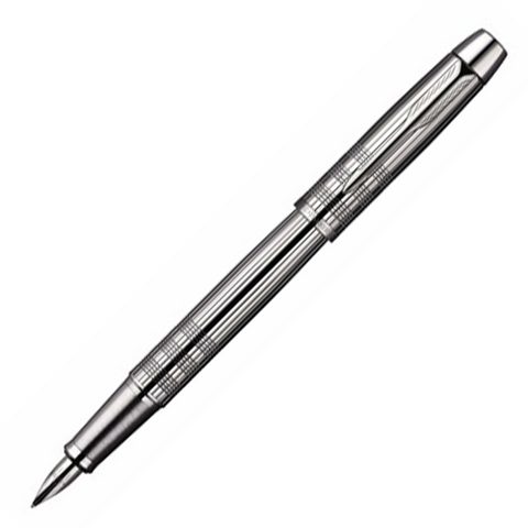 Parker IM Premium Chiselled Shiny Chrome Trim Fountain Pen