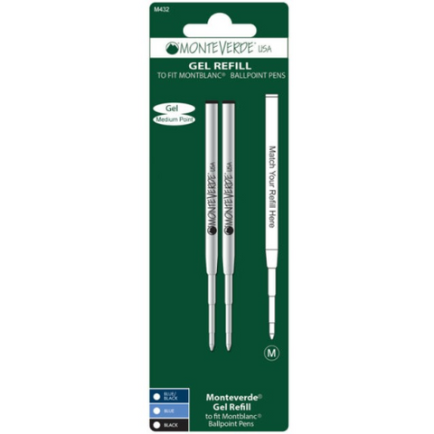 Monteverde Capless Gel Refill M43 - Medium - for Montblanc Ballpoint Pens [Pack of 2]