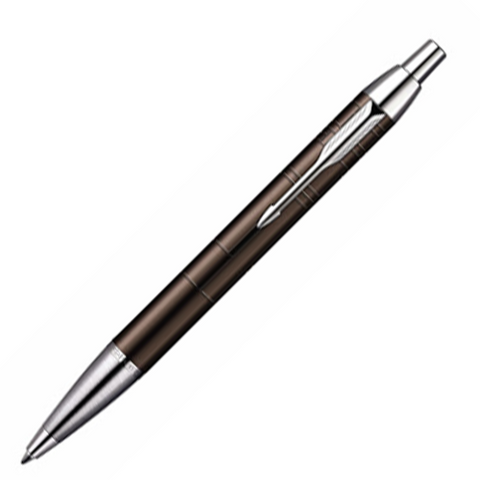 Parker IM Premium Metallic Brown Chiselled Chrome Trim Ballpoint Pen