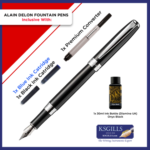 Alain Delon Moritz Fountain Pen SET - Black Chrome Trim - Double Broad (BB)