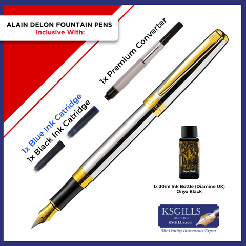 Alain Delon Moritz Fountain Pen SET - Brushed Stainless Steel Gold Trim - Double Broad (BB)