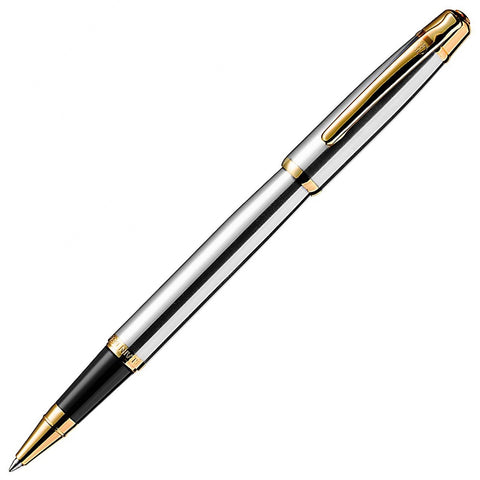 Alain Delon Deco Rollerball Pen - Stainless Steel (Silver) Gold Trim