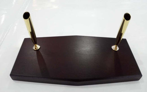 Desk Pen Stand Double Base Wood (Pen Add-On Cost)