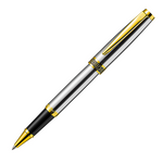 Alain Delon Florence Rollerball Pen - Stainless Steel Chrome Gold Trim