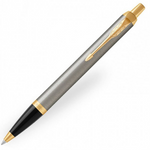 Parker IM Ballpoint Pen - Brushed Metal Steel Black Gold Trim - Refill Blue Medium (M)