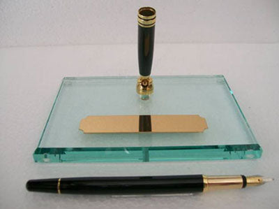 Desk Pen Stand Single Base - Jase Glass Base with Fountain Pen - KSGILLS.com | Online Penshop Malaysia