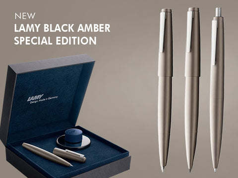 Lamy 2000 Limited Edition Black Amber Piston Fountain Pen with Gift Box  - M