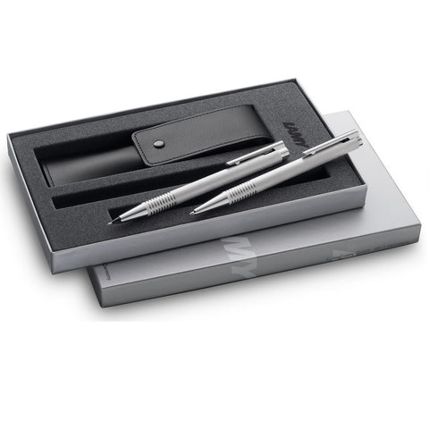 Lamy Logo V64 Brushed Steel 206 Ballpoint Pen and 106 Pencil Gift Set - KSGILLS.com | Online Penshop Malaysia