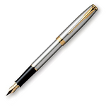 Parker Sonnet Fountain Pen - Stainless Steel Gold Trim Plated Nib (Vintage)