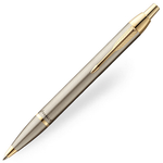 Parker IM Ballpoint Pen - Brushed Metal Steel Gold Trim - Refill Blue Medium (M)
