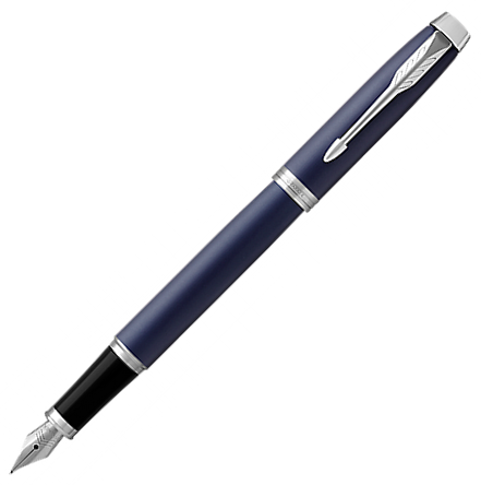 Parker IM Matte Blue Chrome Trim Fountain Pen
