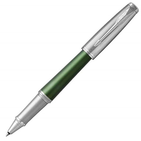 Parker Urban Premium Rollerball Pen - Green Chrome Trim - Refill Black Fine (F)