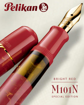 Pelikan M101N Special Edition Bright Red Fountain Pen - M (Gift Set)