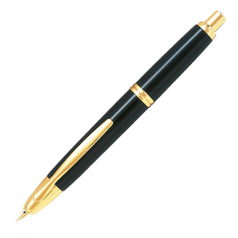 Pilot Capless Gold Black Fountain Pen - Medium Nib - KSGILLS.com | Online Penshop Malaysia