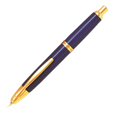 Pilot Capless Gold Blue Fountain Pen - Medium Nib - KSGILLS.com | Online Penshop Malaysia