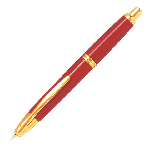 Pilot Capless Gold Red Fountain Pen - Medium Nib - KSGILLS.com | Online Penshop Malaysia