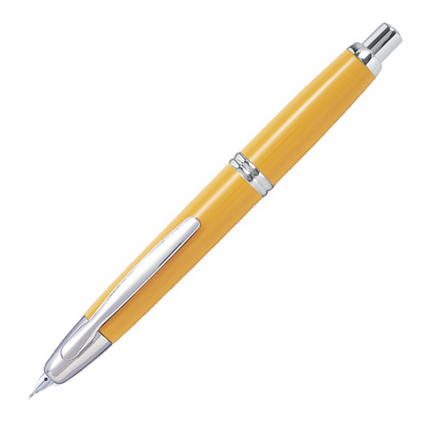 Pilot Capless Rhodium Trim Yellow Fountain Pen – Medium Nib - KSGILLS.com | Online Penshop Malaysia