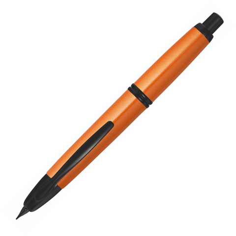 Pilot Capless Trend Metallic Black Matte Trim Fountain Pen Orange - Medium Nib - KSGILLS.com | Online Penshop Malaysia