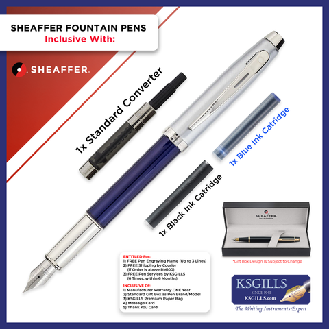 Sheaffer 100 Fountain Pen SET - Blue Barrel with Chrome Trim Cap