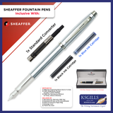 Sheaffer 100 Fountain Pen SET - Brushed Steel Chrome Trim