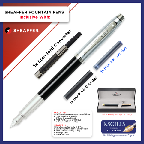 Sheaffer 100 Fountain Pen SET - Black Lacquer Barrel with Chrome Cap