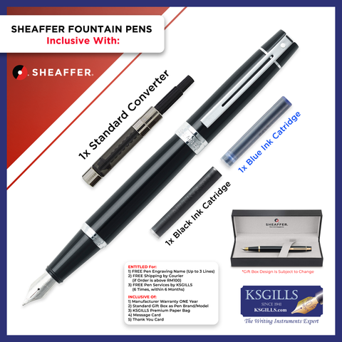 Sheaffer 300 Fountain Pen Set - Glossy Black Chrome Trim