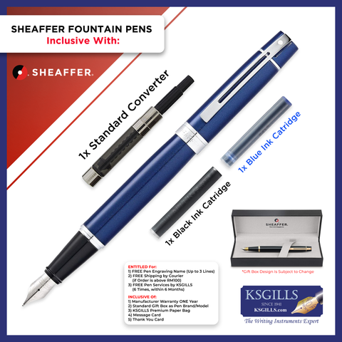 Sheaffer 300 Fountain Pen Set - Glossy Blue Lacquer