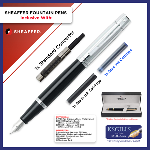 Sheaffer 300 Fountain Pen Set  - Chrome Cap Glossy Black Barrel Chrome Trim