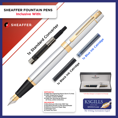 Sheaffer 300 Fountain Pen Set - Brushed Chrome Trim
