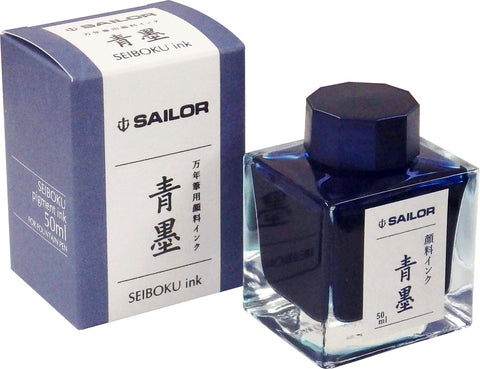 Sailor Ink Bottle 50ml Nano Pigmented Fountain Pen - Seiboku Blue-Black