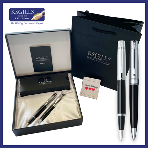Sheaffer SET 300 Fountain & Ballpoint Pen Set - Black Chrome Cap (with LUXURY Design Gift Box)