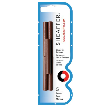 Sheaffer Ink Cartridges Pack of 5 - Brown