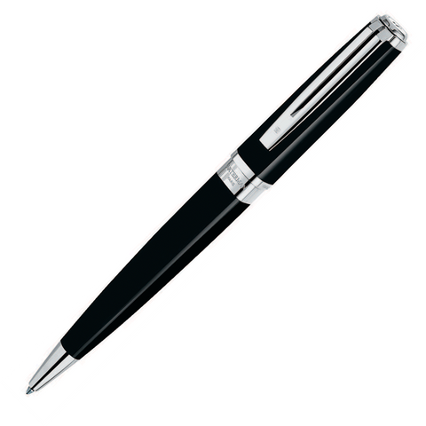 Waterman Exception Slim Black Lacquer Silver Plated Ballpoint Pen - KSGILLS.com | Online Penshop Malaysia