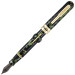 Conklin Mark Twain Crescent Filler Fountain Pen - Green w/ Gold Trim