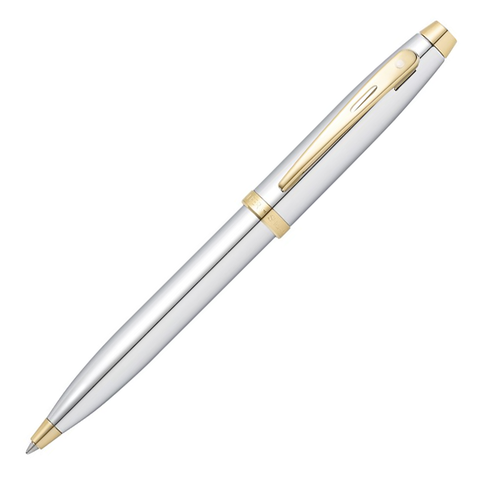 Sheaffer 100 Ballpoint Pen - Shinny Chrome with Gold Trim
