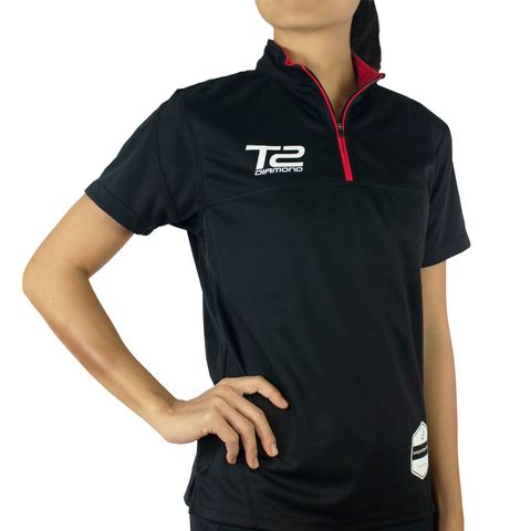 T2 Diamond Ladies' Black & Red Front Zipper Jersey