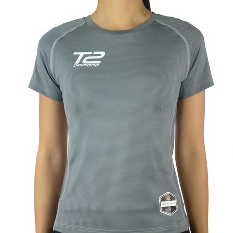 T2 Diamond  Ladies' Round Neck Grey Jersey