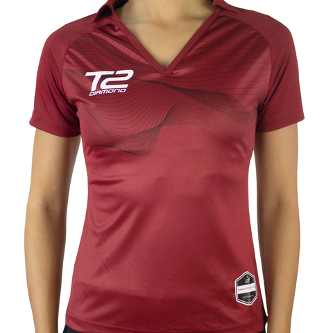 T2 Diamond  Ladies' V-Neck Maroon