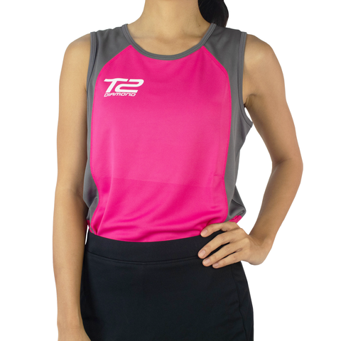 T2 Diamond Ladies' Sleeveless Pink & Grey Jersey