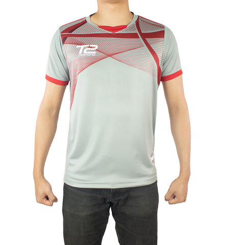T2 Diamond  Men's Grey & Red Jersey