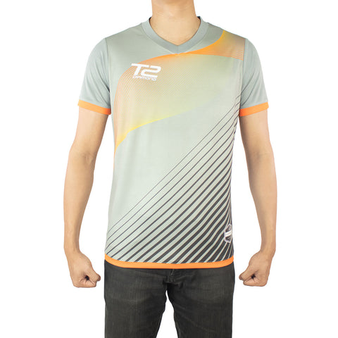 T2 Diamond  Men's Grey & Orange Jersey