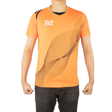 T2 Diamond  Men's Orange with Black Mesh Jersey