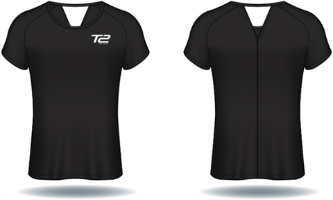 T2 Diamond  Ladies' V-Back Black
