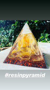 Mini flame inspired resin pyramid